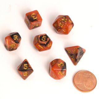 Blackfire Dice - Fairy Dice RPG Set - BiColor (7 Dice) - Black Orange
